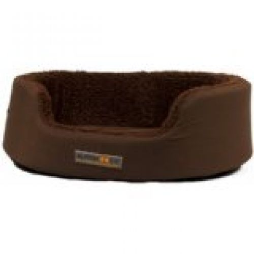 AlphaPooch Dreamer Oval Bolster Dog Bed, Coco Fabric with Coco Fleece, Medium