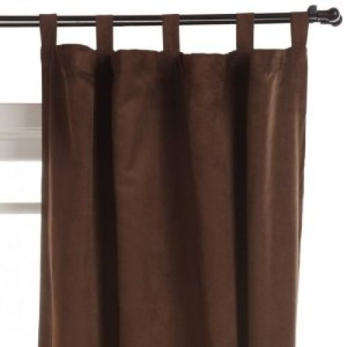 55-Inch by 63-Inch Faux Suede Chamois Tab Top Panel, Chocolate