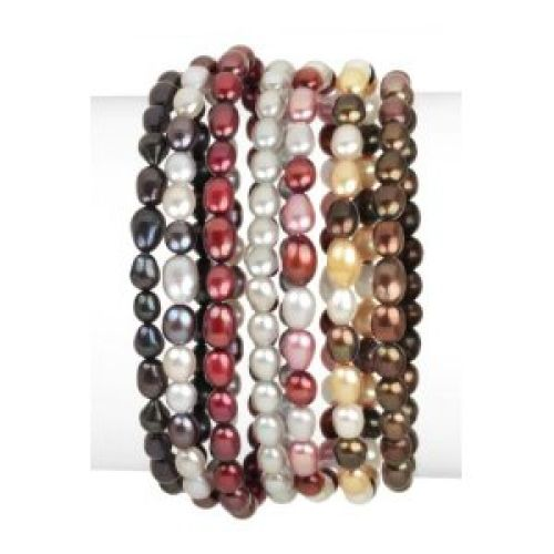 7 Piece Fall Tones Freshwater Cultured Pearl Stretch Bracelet Set, 7.5""