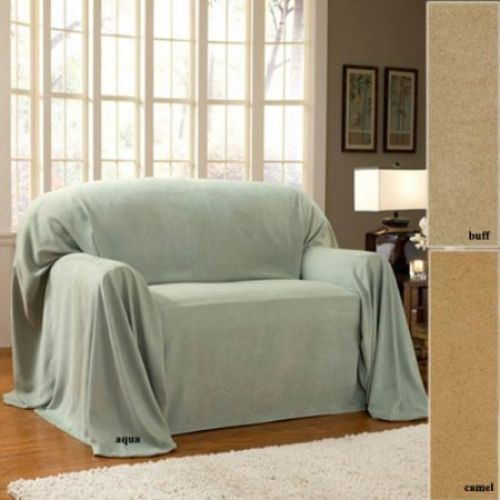 "Brady Faux Suede Furniture Throw 70"" X 144"" Aqua"