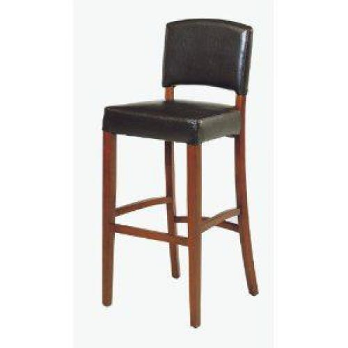 Armen Living Sonora 26-Inch Stationary Black Leather Barstool