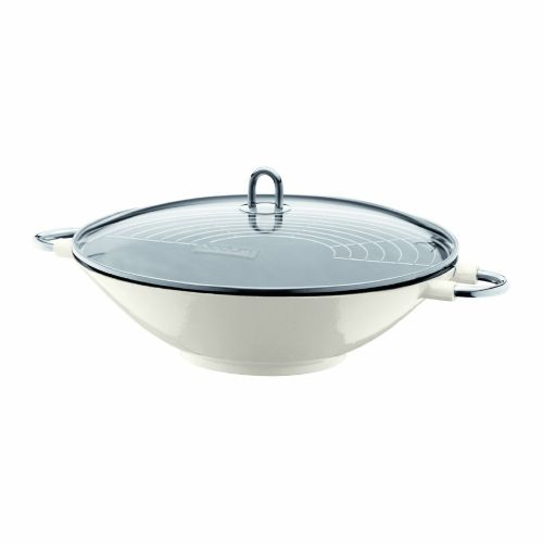 Bodum Chambord Enameled Cast Iron Wok With Glass Lid