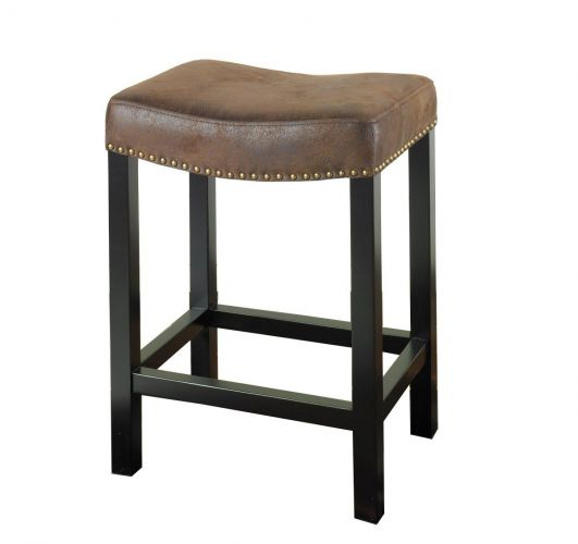 Armen Living Mbs-013 Tudor Backless 30-Inch Stationary Barstool with Nailhead Accents, Wrangler Brown
