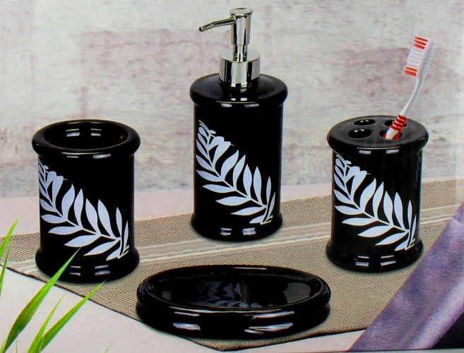 Bathroom Accessory Set Leaf Design Ceramic 4 Piece