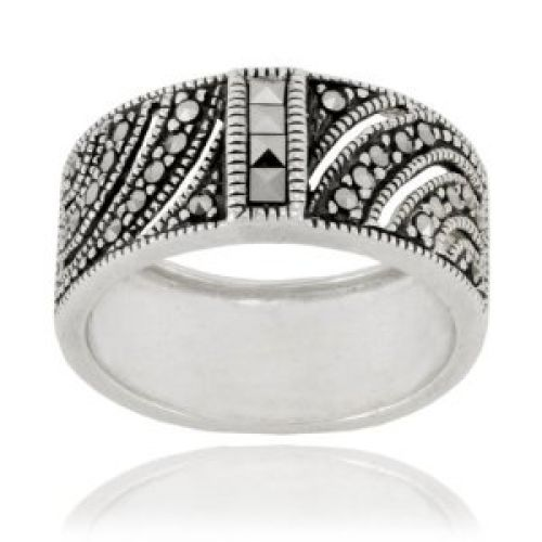 Sterling Silver Marcasite Square Cut Wide Band Ring, Size 9