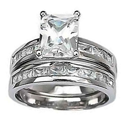 Bling Jewelry 2.5 ct Emerald-Cut Solitaire CZ Engagement Wedding Ring Set w/ Baguette Sz-8