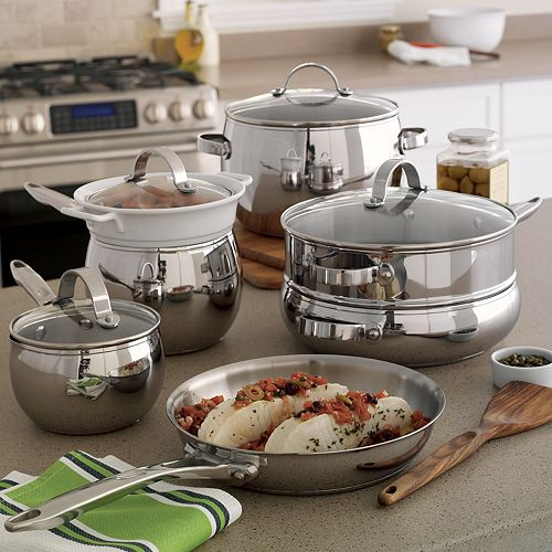 Food Network 11 Pc Potbelly Stainless Steel Cookware Set