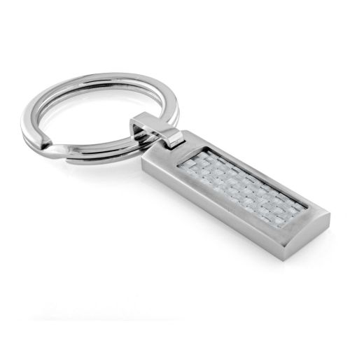 Men's Stainless Steel Key Chain with Carbon Fiber Inlay