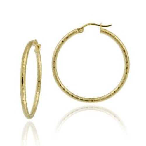 18k Yellow Gold Plated Sterling Silver Diamond-Cut 2x30 Clicktop Hoop Earrings