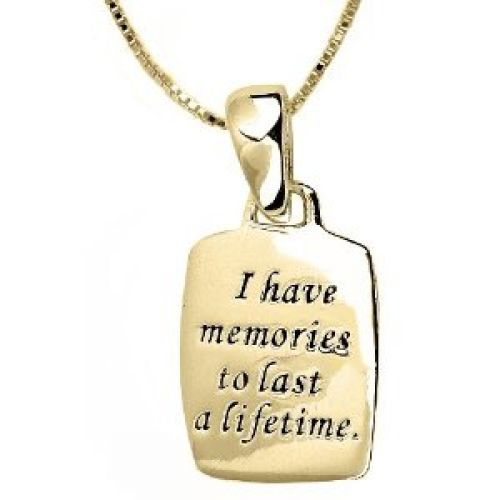 "14k Yellow Gold Plated Sterling Silver ""Grandma, Because Of You, I Have Memories To Last A Lifetime"" Reversible Pendant, 18"""