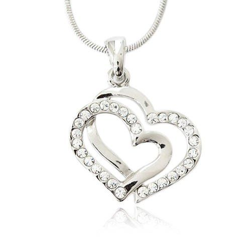 Crystal Double Heart Charm Pendant Necklace