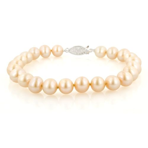 Champagne Freshwater Cultured A Quality 6.5-7mm Pearl Bracelet, 7""