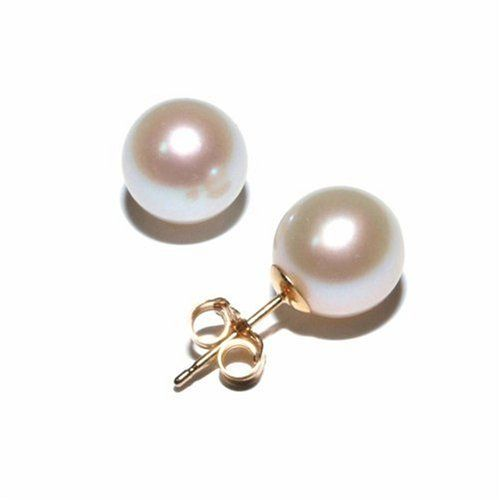 14k Yellow Gold Freshwater Cultured Pearl Stud Earrings (8-8.5mm)