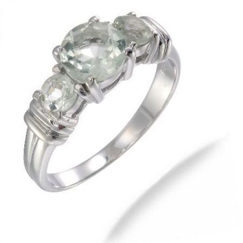 1.75 CT 3 Stone Green Amethyst Ring In Sterling Silver In Size 9