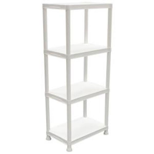 Workforce Home Essentials 14 in. 4-Shelf White Plastic Storage Shelving
