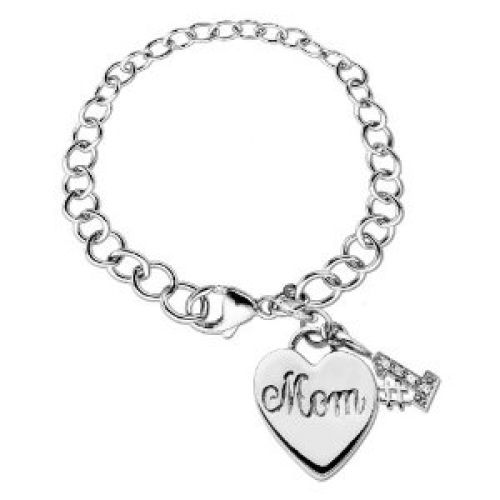 Sterling Silver #1 Mom Charm Link Bracelet (.02 cttw, I-J Color, I2-I3 Clarity), 7.5""