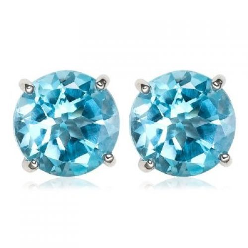 14k White Gold 7mm Round Swiss Blue Topaz Stud Earrings