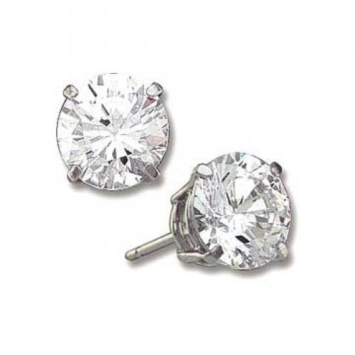 1.5 ct Sterling Silver Round CZ Stud Earrings 6MM