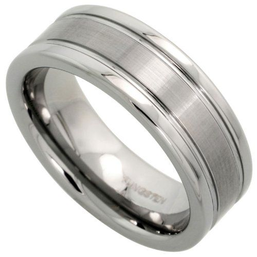 Tungsten 8 mm (5/16 in.) Comfort Fit Flat Wedding Band Ring Brushed Center w/ 2 Grooves , size 8.5