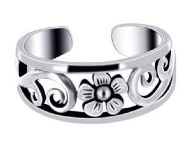 .925 Sterling Silver Polish Finish 6mm FlowerToe Ring